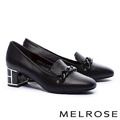 高跟鞋 MELROSE 典雅氣質鍊條設計特色鞋跟小牛皮高跟鞋-黑