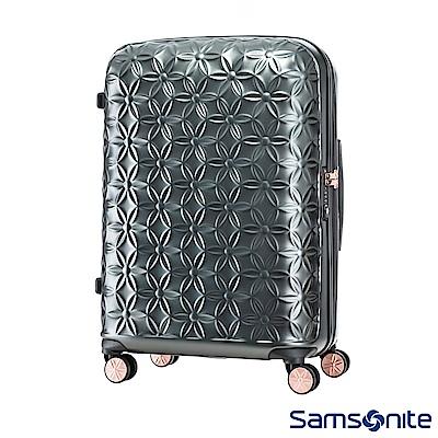Samsonite新秀麗 24吋Theoni 3D花卉圖案可擴充硬殼行李箱(霧黑)