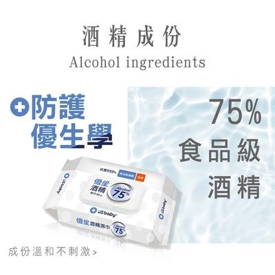 US baby 優生 酒精濕巾 75% Alcohol -超厚型40抽(6包)