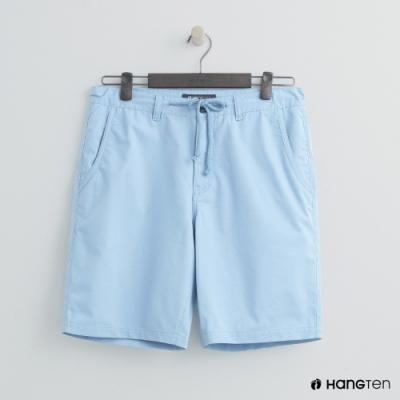 Hang Ten - 男裝 - 簡約綁帶棉質休閒短褲-淺藍