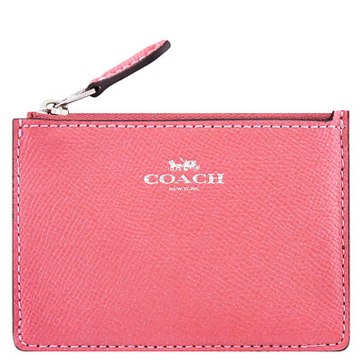 COACH 粉紅色珠光防刮皮革鑰匙零錢包