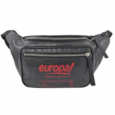 BALENCIAGA  EUROPA字小羊皮時尚腰包/胸口包(黑)