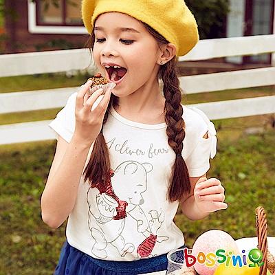 bossini女童-小熊維尼印花短袖T恤03灰白