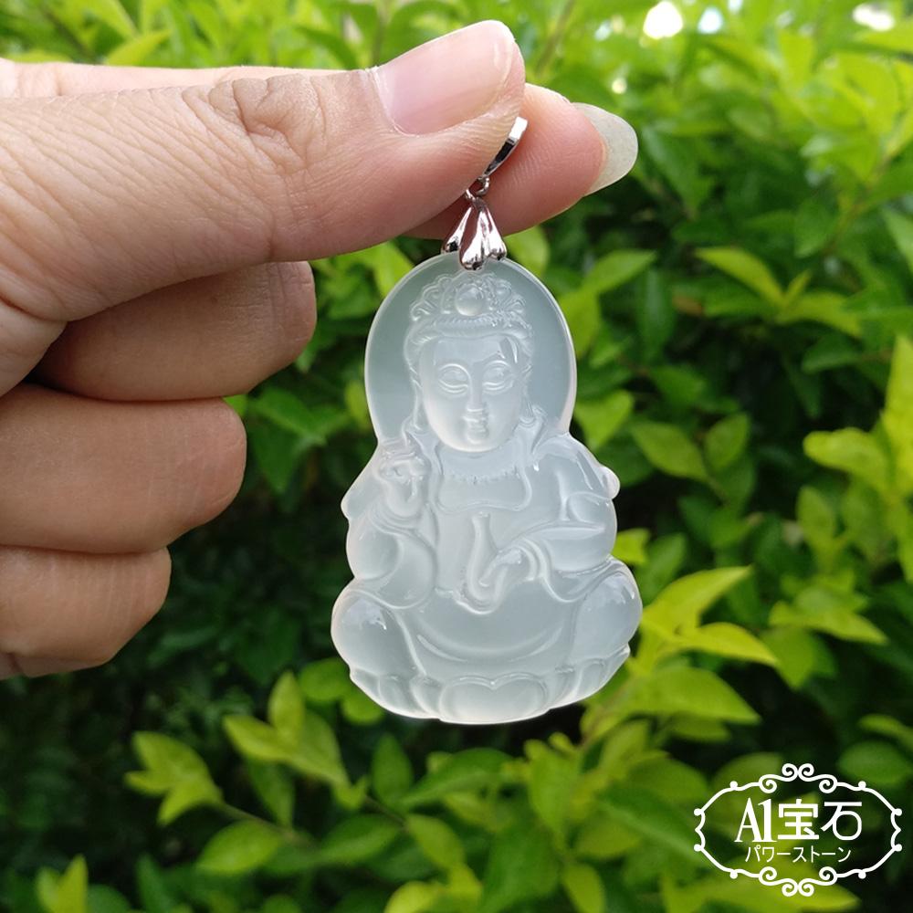 A1寶石  冰種玉髓觀音墜飾-提升財氣旺貴人運(加贈純銀扣頭-隨機出貨-含開光)