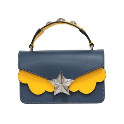 les jeunes etoiles 義大利品牌 復古銀色星星真皮皮革單肩包 深藍x黃