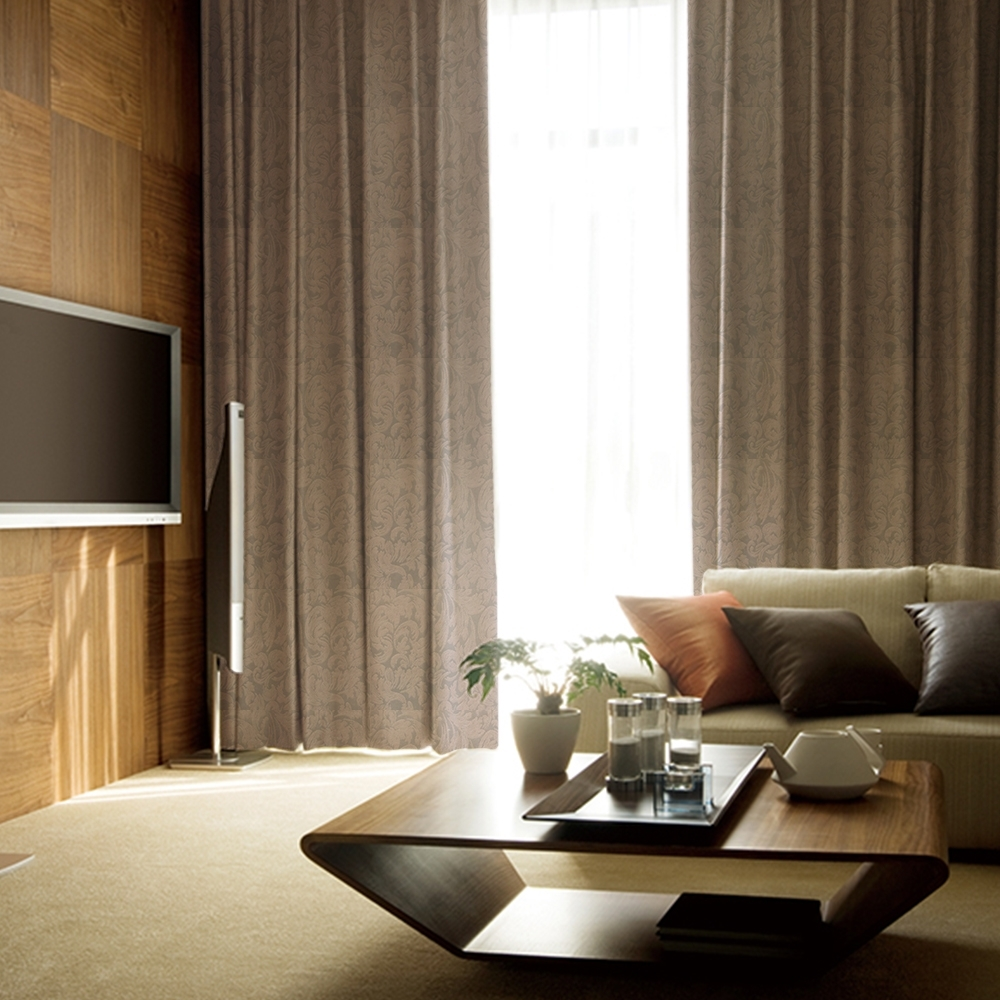 芸佳 (超值2入)北歐精緻典雅柔紗金紋玫瑰窗簾 W100XH150