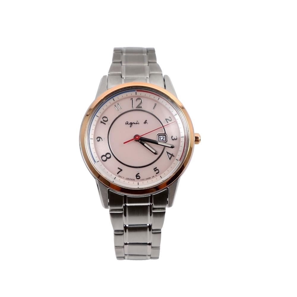 agnes b. SOLAR 太陽能法國國旗色彩腕錶-粉x銀/31mm