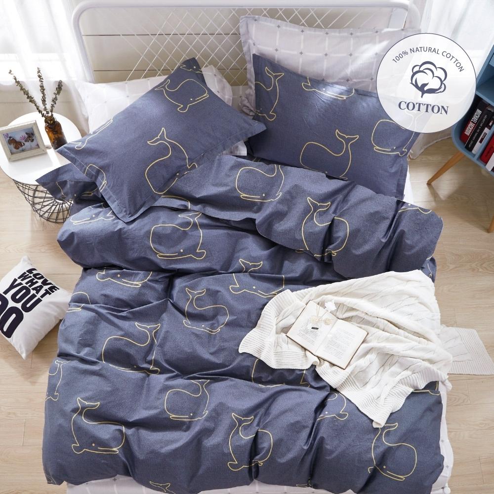 A-ONE 100%純棉-雙人床包/被套組-鯨魚共游