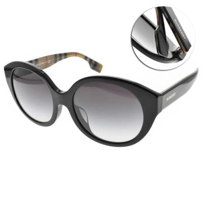 BURBERRY太陽眼鏡 復古女伶圓框款/黑-漸層藍 # B4304D 37738G
