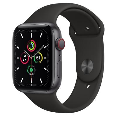 Apple Watch SE (GPS+行動網路) 44mm 太空灰鋁金屬錶殼+黑色錶帶(MYF02TA/A)