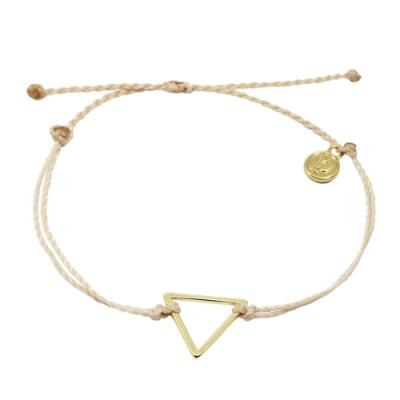 Pura Vida 美國手工 金色三角形 米褐色臘線衝浪手鍊手環