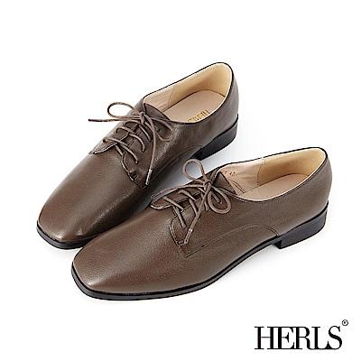 HERLS 經典百搭 內真皮素面方頭牛津鞋-巧克力咖