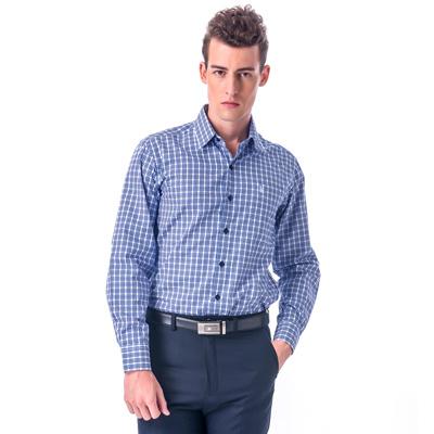金‧安德森 白底深淺藍格紋相間窄版長袖襯衫