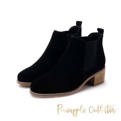 Pineapple Outfitter-BIRCH時尚側鬆緊帶麂皮短筒靴-絨黑色