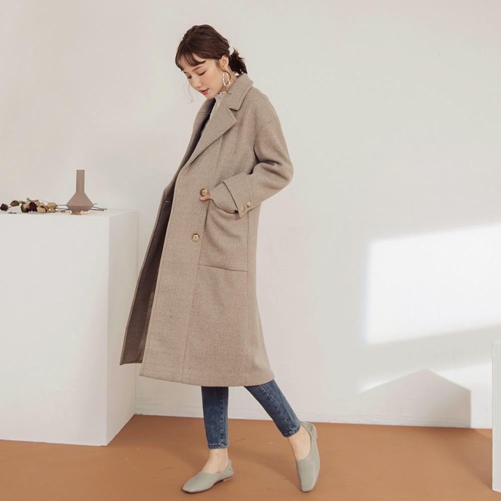 純色雙排釦西裝領長版毛呢外套-OB大尺碼