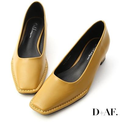 D+AF 神秘色調.獨特車線方頭中跟鞋*黃