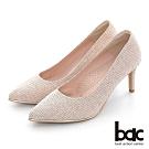 【bac】 尖頭金屬沿條金蔥布高跟鞋-粉紅