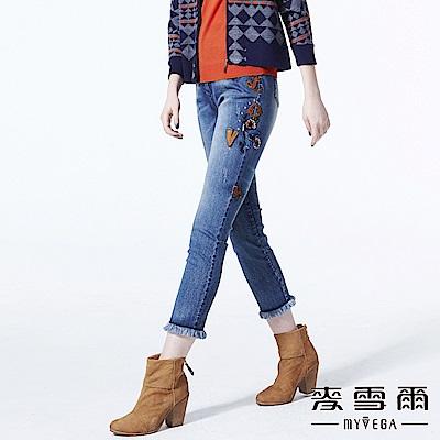 【麥雪爾】純棉個性抽鬚刺繡貼布牛仔褲