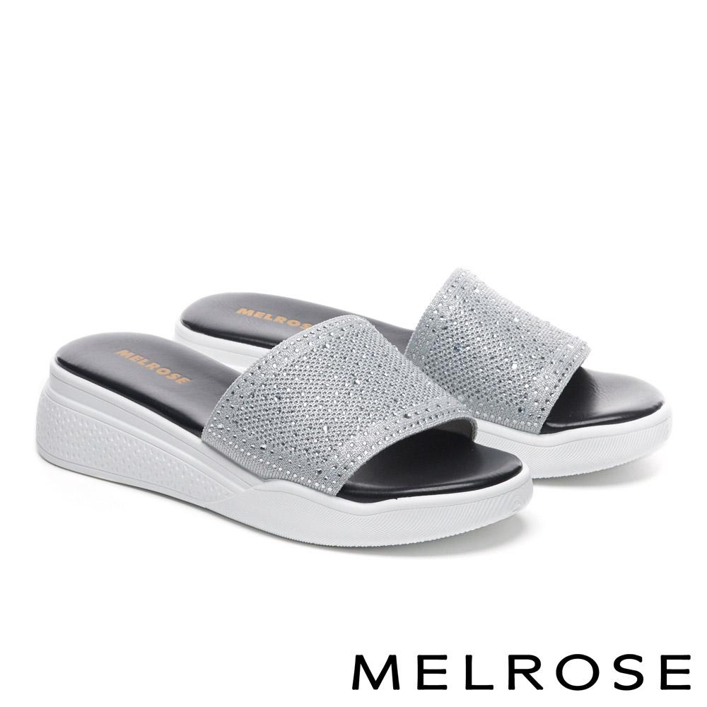 拖鞋 MELROSE 閃耀晶鑽奢華休閒厚底拖鞋-灰