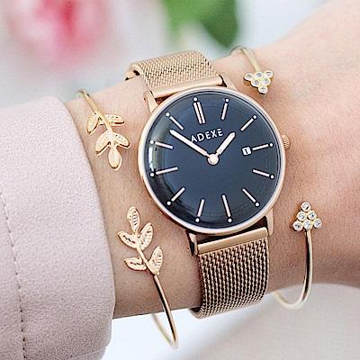 ADEXE 英國時尚手錶 Meek日期顯示系列 黑錶盤x玫瑰金錶框米蘭錶帶32.5mm