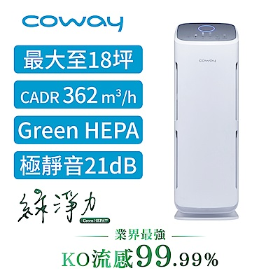 Coway 經認證抑制冠狀病毒 18坪 綠淨力立式空氣清淨機AP-1216L