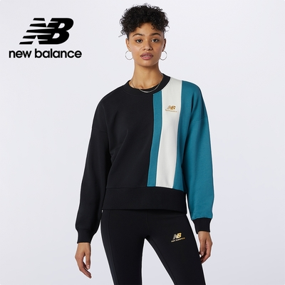[New Balance]圓領棉上衣_女性_黑綠_AWT13500BK