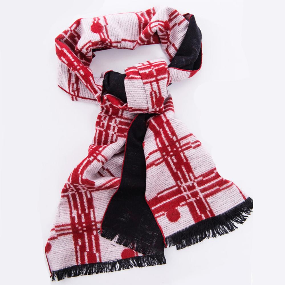 ELLE純桑蠶絲格紋印花輕柔保暖可雙面使用薄圍巾披肩_白