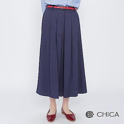 CHICA 巴黎街頭典雅百褶垂墜感褲裙(1色)