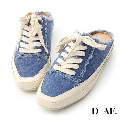 D+AF 自在主打.帆布抽鬚方頭休閒穆勒鞋*藍