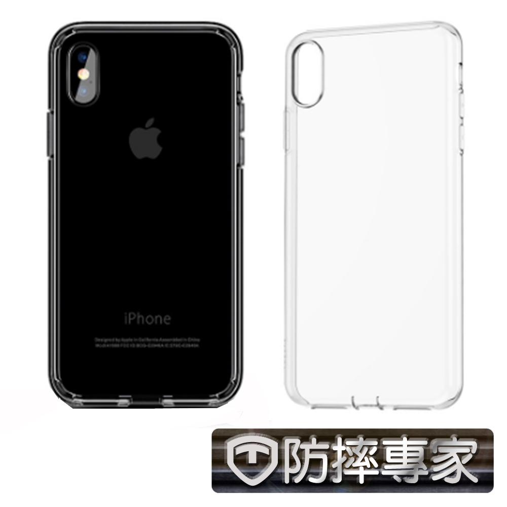 防摔專家 iPhone Xs 水晶殼光透硬殼+鏡頭保護貼(超值組)