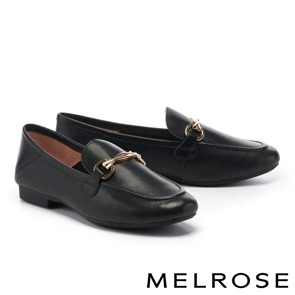 低跟鞋 MELROSE 簡約質感金屬飾釦牛皮樂福低跟鞋-黑