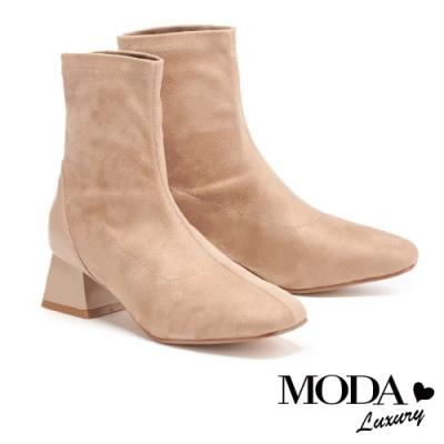 短靴 MODA Luxury 極簡時髦異材質拼接方頭粗高跟短靴-杏