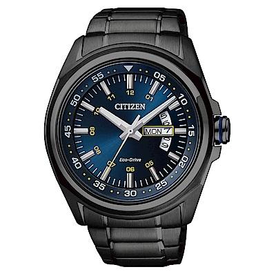 CITIZEN Eco-Drive 時尚藍調黑鋼男錶-藍面(AW0024-58)