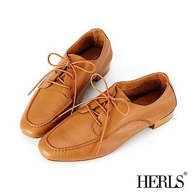 HERLS 全真皮小方頭開襟綁帶休閒鞋-駝色