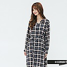 H:CONNECT 韓國品牌 女裝-腰間綁帶格紋襯衫洋裝-藍