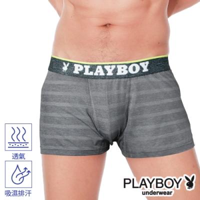 PLAYBOY男內褲 韓系輕時尚條紋四角褲 合身四角褲-單件-麻黑