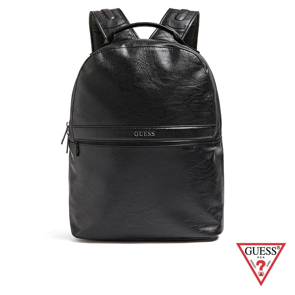 GUESS-男包-經典簡約皮革後背包-黑