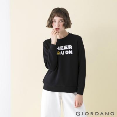 GIORDANO  女裝CHEER YOU ON大學T恤 - 12 標誌黑