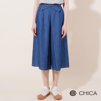 CHICA 優雅蝴蝶綁帶寬擺牛仔褲裙(1色)