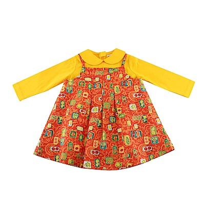 愛的世界 純棉園藝女孩2件式長袖洋裝