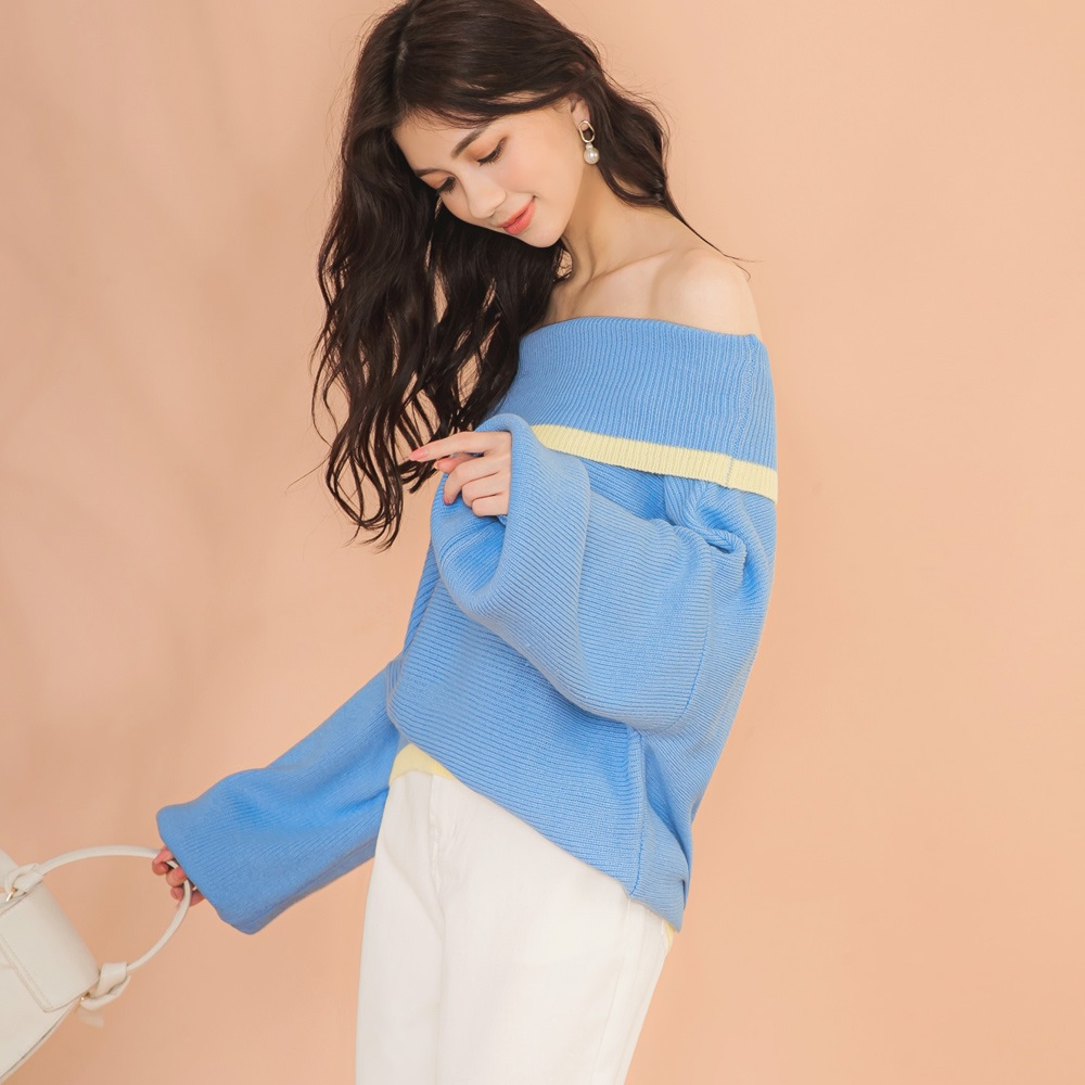 IREAL【微性感穿搭】配色露肩毛衣上衣 product image 1