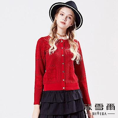 【麥雪爾】蕾絲勾織針織外套-紅