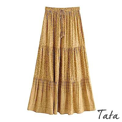 流蘇綁帶豹紋印花長裙 TATA