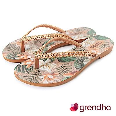 Grendha 熱帶雨林草編紋人字帶夾腳鞋-金色