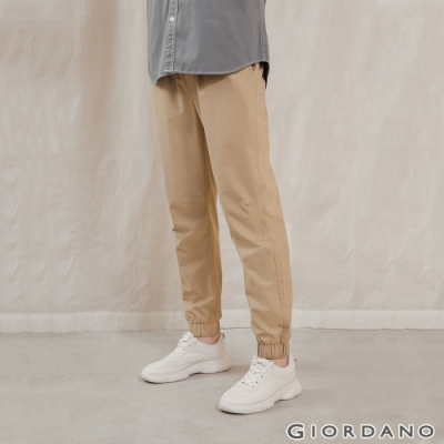 GIORDANO 男裝純棉素色束口褲 - 87 陶器卡其
