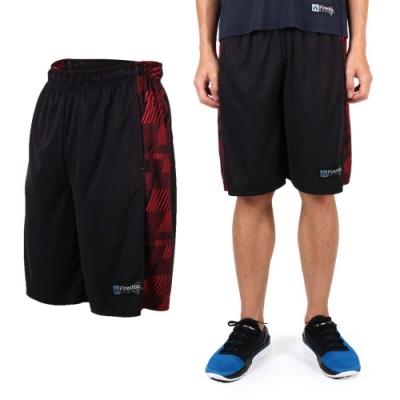 FIRESTAR 男吸排籃球褲-運動短褲 休閒短褲 黑紅