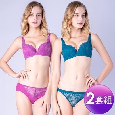 [限時激降]思薇爾 花采柔媚系列B-F罩蕾絲包覆內衣2套組(紫水晶+風靡綠)