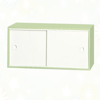 文創集 麥克 環保2.7尺南亞塑鋼推門二格置物櫃/收納櫃-80x31x40cm免組