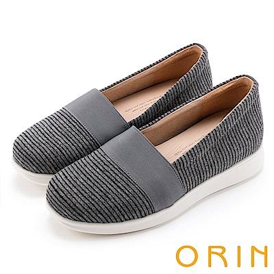 ORIN 引出度假氣氛 性格條紋平底便鞋-深灰