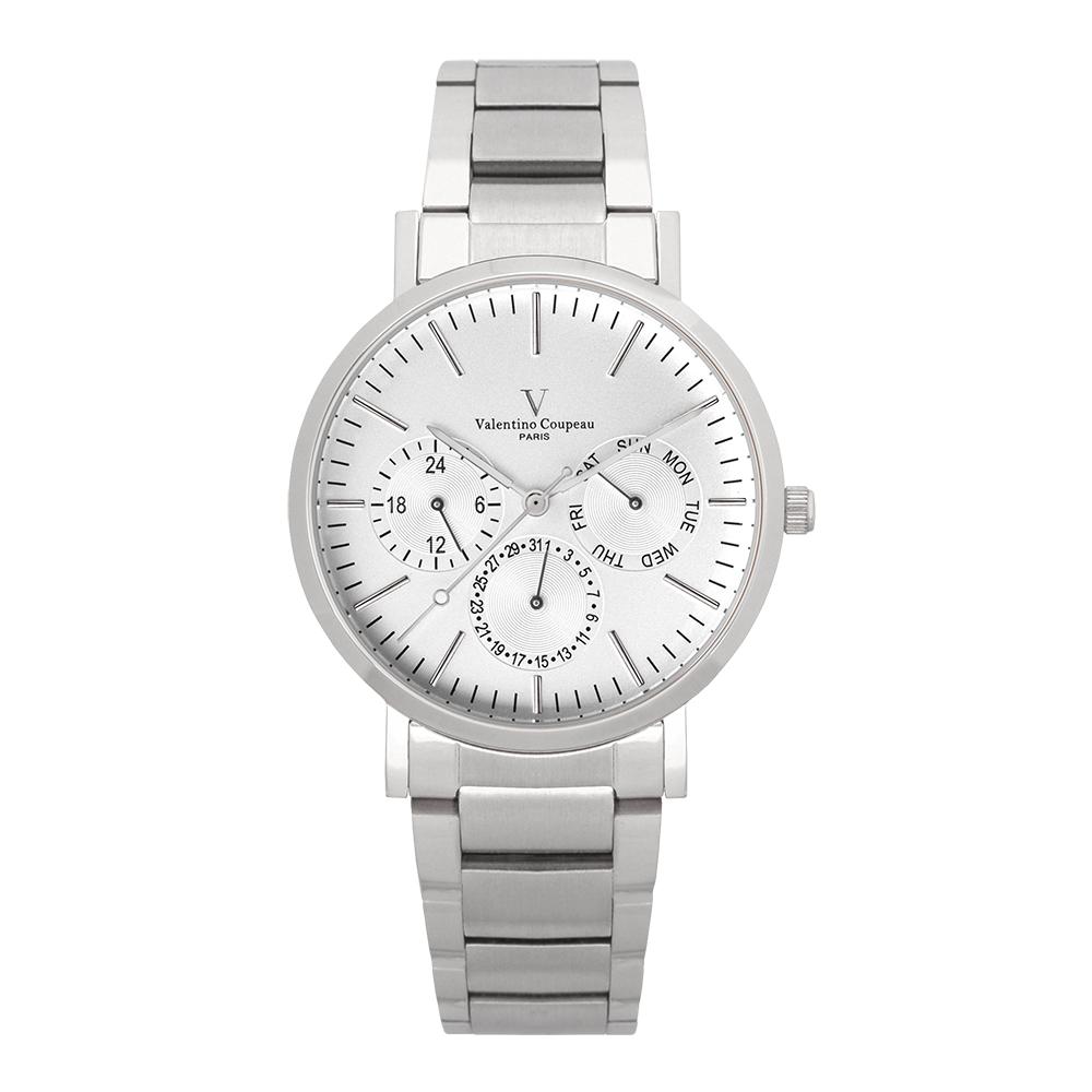 Valentino Coupeau 范倫鐵諾 古柏 時尚三眼腕錶 (銀殻/鋼帶/白面)
